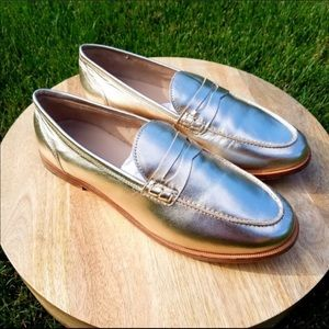 Jcrew metallic gold loafer 8 worn once